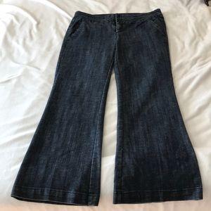 Dark wash wide band trouser jean